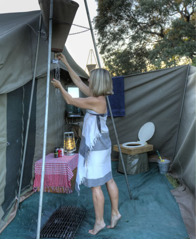 Okavango Expeditions guest tent bathroom