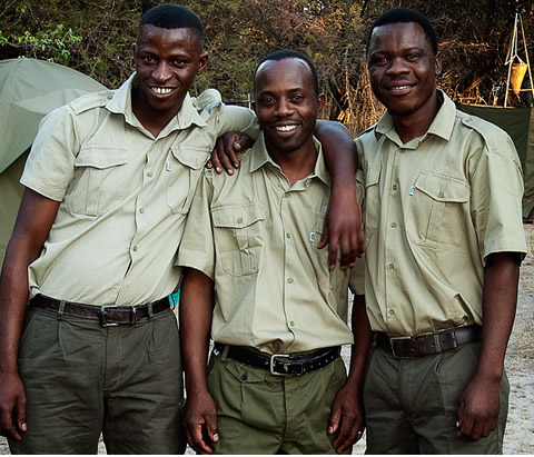 Okavango Expeditions staff members in camp