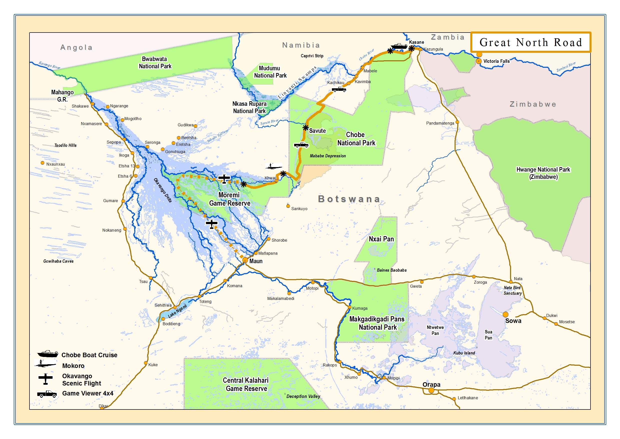 Okavango Expeditions Great North Road map