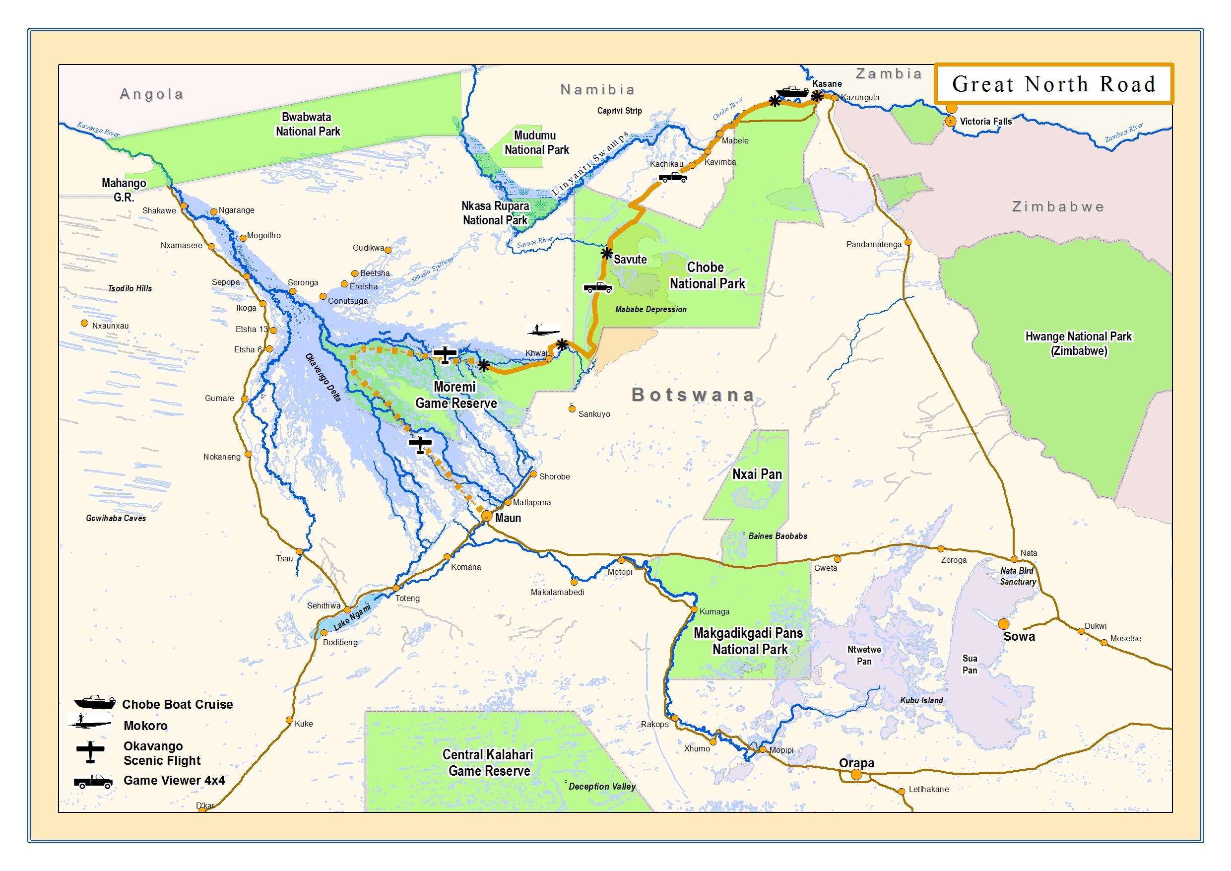 Okavango Expeditions Great North Road map