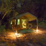 Okavango Expeditions client tent at night