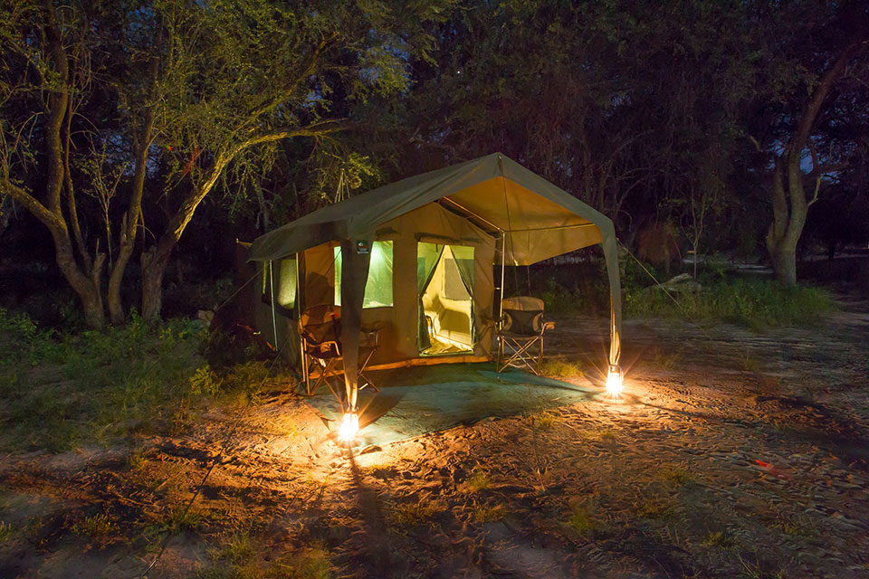 Okavango Expeditions client tent at night