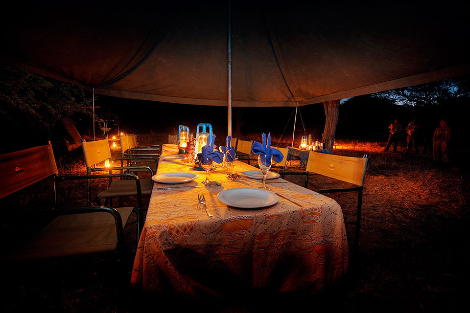 Okavango Expeditions dining tent at night