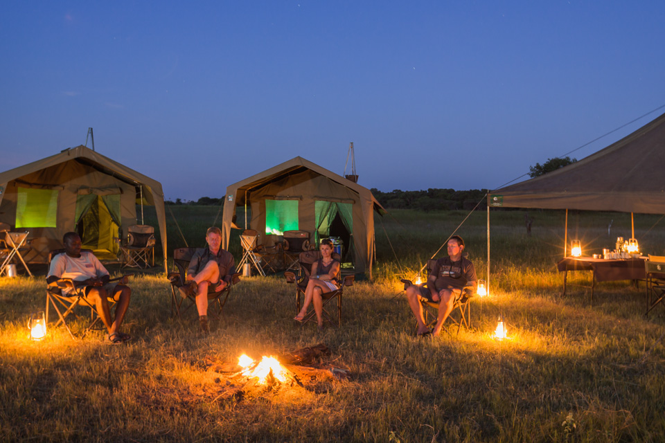 Okavango Expeditions mobile safari camp setup